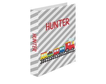 Personalized Binder - Train Red Yellow Blue Track Grey Diagonal Stripes, Customized Pocket Binder 3 Ring Binder 2 Inch Spine Back to School