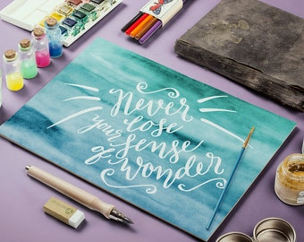 "PRINTABLE Art ""Never Lose Your Sense of Wonder"" Typography Art Print Watercolor Quote Watercolor Art Print Blue Watercolor Art Print"