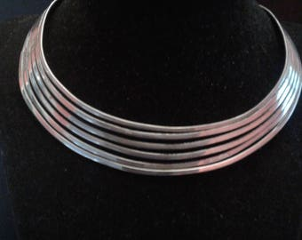 Vintage Handmade Neckwire and Cuff Bracelet of Silvertone Metal