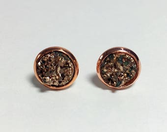 8 mm rose gold druzy earrings with rose gold settings