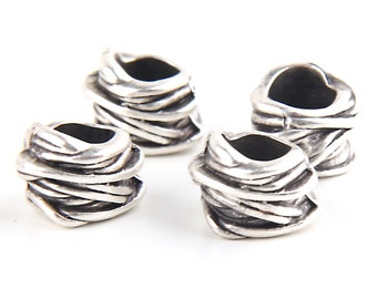 Silver Plated Large Hole Slider Beads, 4 pieces // SB-067