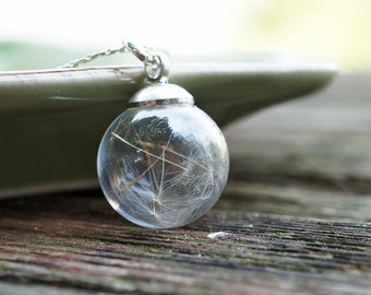 Mini Dandelion Glass Sphere necklace - Glass Orb necklace - real pressed flower, botanical jewelry, gift under 25, wish