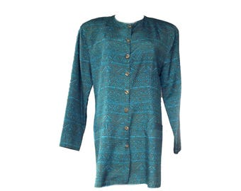 Silk Blazer 80s Studio One Roy Lee Ethnic Jacket Batik Style Sz 8