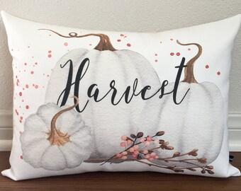 Harvest white pumpkin pillow cover Fall Autumn Thanksgiving holiday decor 12x16 canvas cushion cottage farmhouse gift #539 FlossieandRay