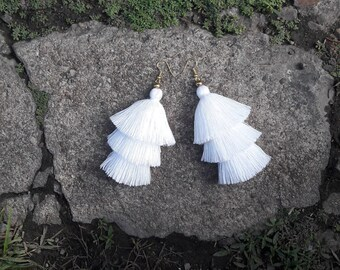 Pure White Tassel Earrings Layered White, Tassel Earrings, Tassel Drop Earrings ,White earrings.