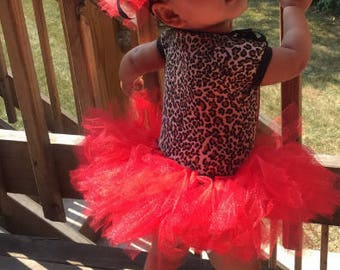 Infant tutu set, Red Tutu, Custom Made Tutu,