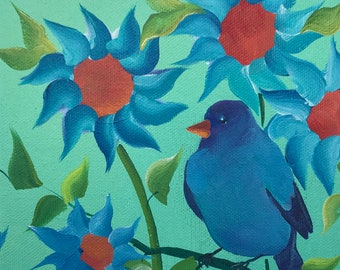 Indigo Bunting Bird in Sunflower Garden on Deep Edge Canvas VII