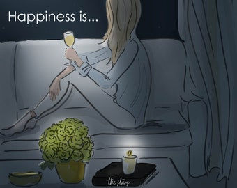 Happiness is A Quiet Night at Home - Heather Stillufsen -   Wall Art for Women