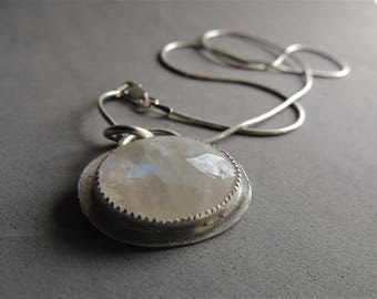 Moonstone Necklace, Silver Necklace, June Birthstone, Faceted Moonstone, Silver Bezel Set Moonstone, Artisan Jewelry, Layering Necklace