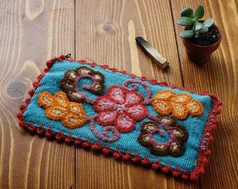Artisan Woven Floral Zipper Pouch - Blue