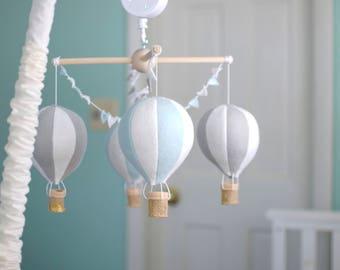 Hot air balloon baby crib mobile, balloon nursery, blue and grey nursery, travel theme nursery, baby boy mobile, baby shower gift