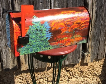 Fall/Winter hand painted mailbox, steel, weather proof, triple varnish coating, unique, colorful