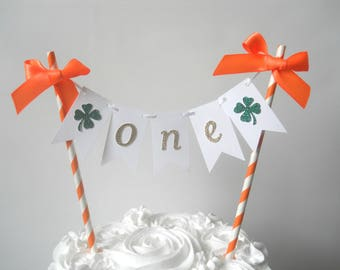 Irish First Birthday, St. Patrick's Day Birthday, Shamrock Party Decor, Irish Smash Cake, Irish Cake Topper. Irish Cake Bunting Orange Irish