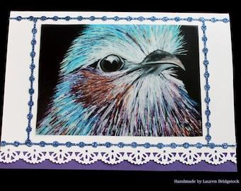 Bird card, purple card, lilac breasted roller bird, greeting card, birthday card, thank you card, glitter card, card for her, handmade card
