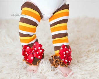 Thanksgiving Baby Leg Warmers - Fall Stripe - Red , Orange , Brown , Leg Warmers - Polka Dot Bows