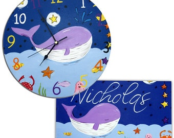 Whale Clock and Personalized Door Sign Gift Set / Children's / Boys Wall Clock / Personalised Plaque / Nursery Decor