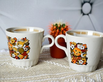Funny Kid's Mugs, Pottery mug set 2, espresso cup, ceramic mugs, tea coffee cups, Childrens Cups, His and Hers, Zoo Animals Cup