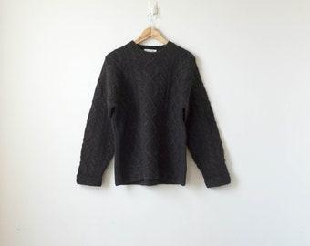 Boho 90s Hand Knit Chocolate Brown Heavy Wool Sweater - 90s Sweater - Boho Sweater - Brown Sweater Oversized Sweater Hippie Sweater -Men's S