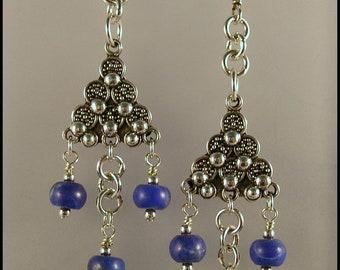 FREE SHIPPING - Lapis & Sterling Silver Dangle Earrings