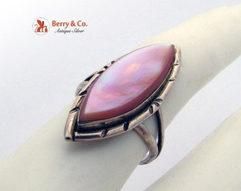 SaLe! sALe! Long Ring Sterling Silver Mother of Pearl