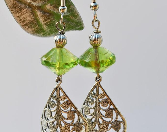 Lime green Czech glass earrings with filagree curved  teardrop dangles