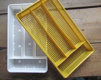 Silverware Tray Vintage Kitchen Utensil Drawer Organizer Choose ONE Orange or Yellow