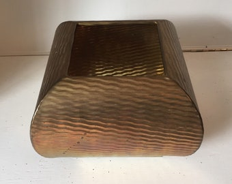 Vintage Brass Planter - Solid Brass - Large Squared Planter - Home/Garden Decor