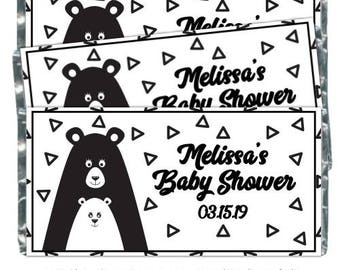Mama Bear and Baby Bear Baby Shower Candy Wrappers, fit over 1.55 oz chocolate bars - black and white