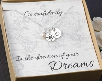 Compass Necklace - Travel - Goodbye Gift - College - New Job - Graduation- Silver Compass Charm, Initial, Pearl or birthstone