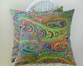 TWO Paisley Jungle Garden in Green by Kaffe Fassett 18x18 Pillow covers