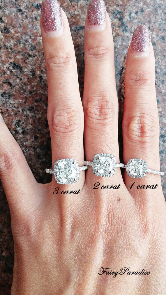 Attrayant 2 Ct Cushion Cut Halo Engagement / Promise Ring In 925 Silver, Man Made  Diamond, Pave Band, Anniversary Ring ( FairyParadise)