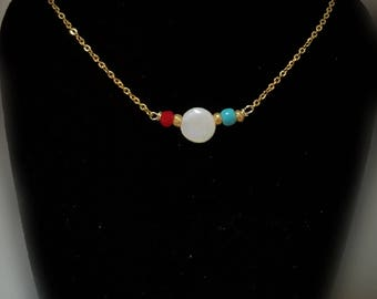 Shell, turquoise, red necklace