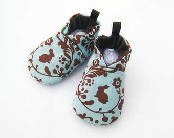 SALE XS Classic Vegan Blue Bunny / All Fabric Soft Sole Shoes / Ready to Ship / Baby Booties
