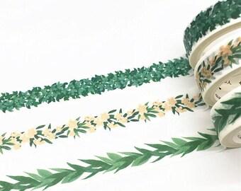 Leaves washi tape, Leaf washi tape, Green washi tape, vines washi tape,garland papercrafts, leaves and flowers washi tape,masking washi tape