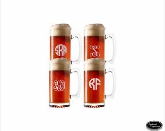 FOUR Monogram Beer Glasses, SHIPS FAST, Custom Engraved Monogrammed Beer Mugs, Personalized Etched Beer Glasses , Wedding Glasses