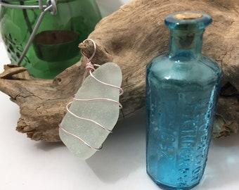 Hand Created Wire Wrapped Genuine White Sea Glass Pendant