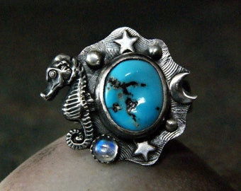 Sleeping Beauty Turquoise Seahorse Ring, Blue Moonstone Jewelry in Sterling Silver, Moons and Stars Statement Ring