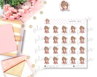 Shopping Belle || Stationary Stickers, Planner Stickers