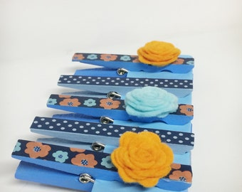 Hand painted Clothespins, blue/orange decorated clothespins, flowers and polka dot decor, magnetic clothespin clips
