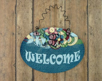WELCOME SIGN Cute Blue Jeans Butterflies Theme 4x6 Hardboard Wood Glossy House Home Front Door Entryway Guests Oval Plaque Whimsical Modern