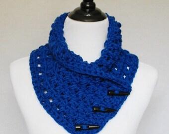 Blue Button Scarf, Puff Stitch Cowl, Crochet Neck Warmer, Wrap Scarf - Chunky Button Cowl, Royal Blue / Denim