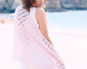 "Knit - ""gong"" crocheted cotton shawl Kit"