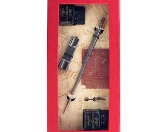 Pewter Calligraphy Pen Ink & Nib Set