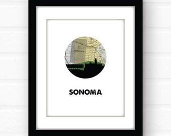 Sonoma County, California map print   California wall art   wine country home decor   Sonoma vineyard art   California art print   wine tour