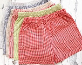 Patch Pocket Boy Shorts - Elastic waist - Back Pockets - Gingham Shorts - Seersucker Shorts - Sweet Dreams Designs