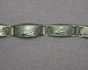Vintage Silver Embossed Link Bracelet