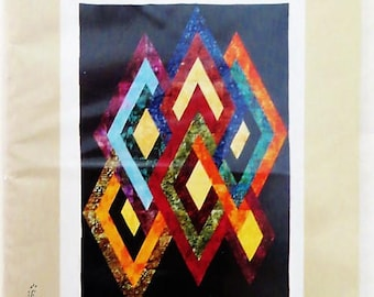Fractured Diamonds Quilt Pattern, Mod Geometric Wallhanging and Quilt, Prairie's Edge Patchworks 70906, 40 in x 60 in, 104 in x 87 in