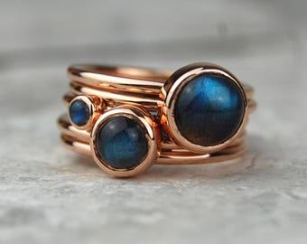 Rose Gold Labradorite Stacking Ring   Rose Gold Ring   Labradorite Ring   Stacking Set   Gold labradorite Ring   Gift for Her   Red Storm