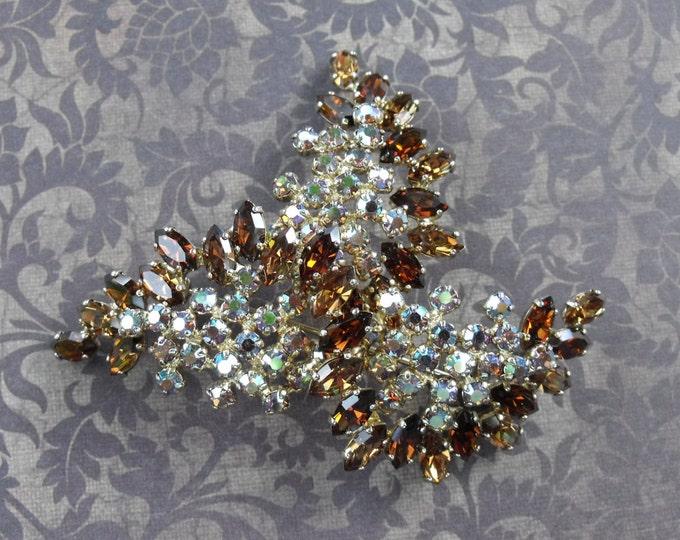Signed Sherman Topaz and Amber Aurora Borealis Bracelet, Brooch and Earring Swarovski Crystal Rhinestone Set