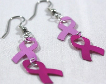Pink Ribbon Earrings Breast Cancer Awareness Earrings Pink Dangle Earrings Plastic Sequin Jewelry